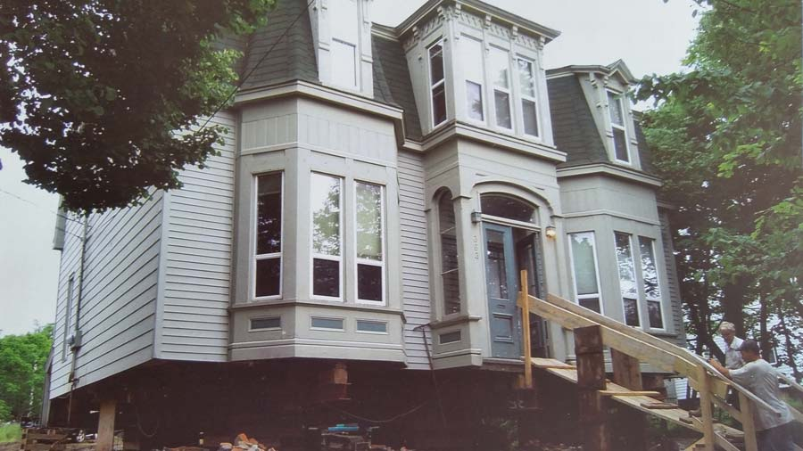 old victorian house jacked