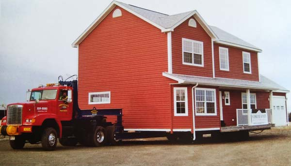 red house on trailer