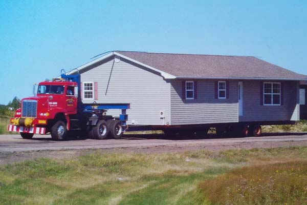 house on moving trailer